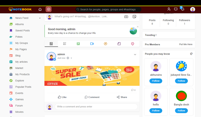 Social Website 75
