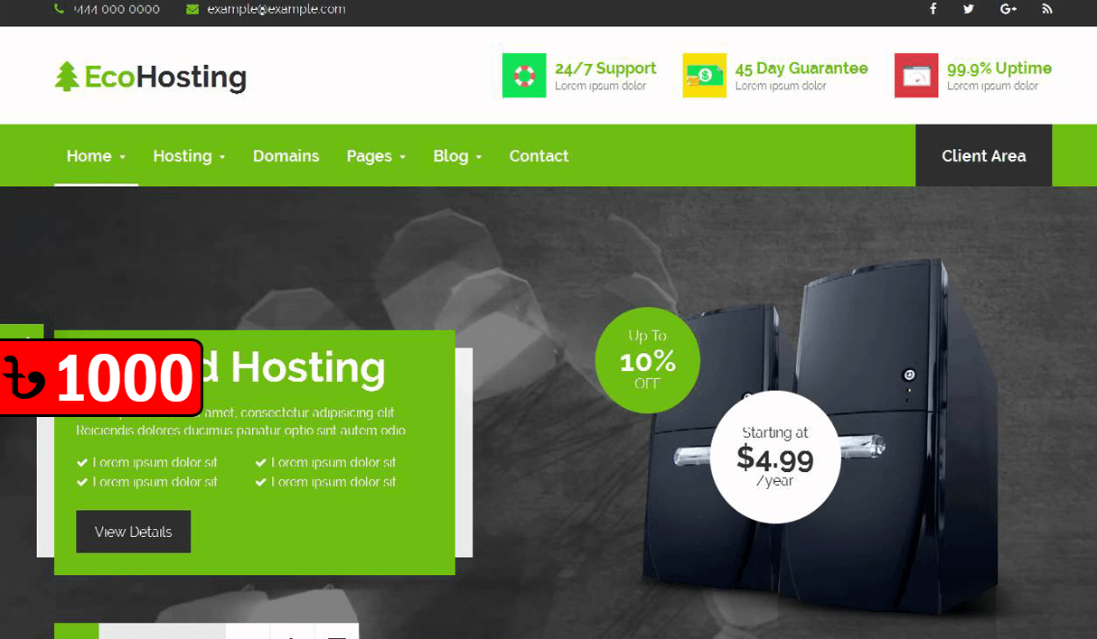 EcoHosting | Responsive WordPress Theme